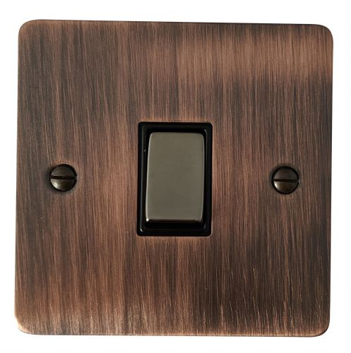 G&H FAC301 Flat Plate Antique Copper 1 Gang 1 or 2 Way Rocker Light Switch